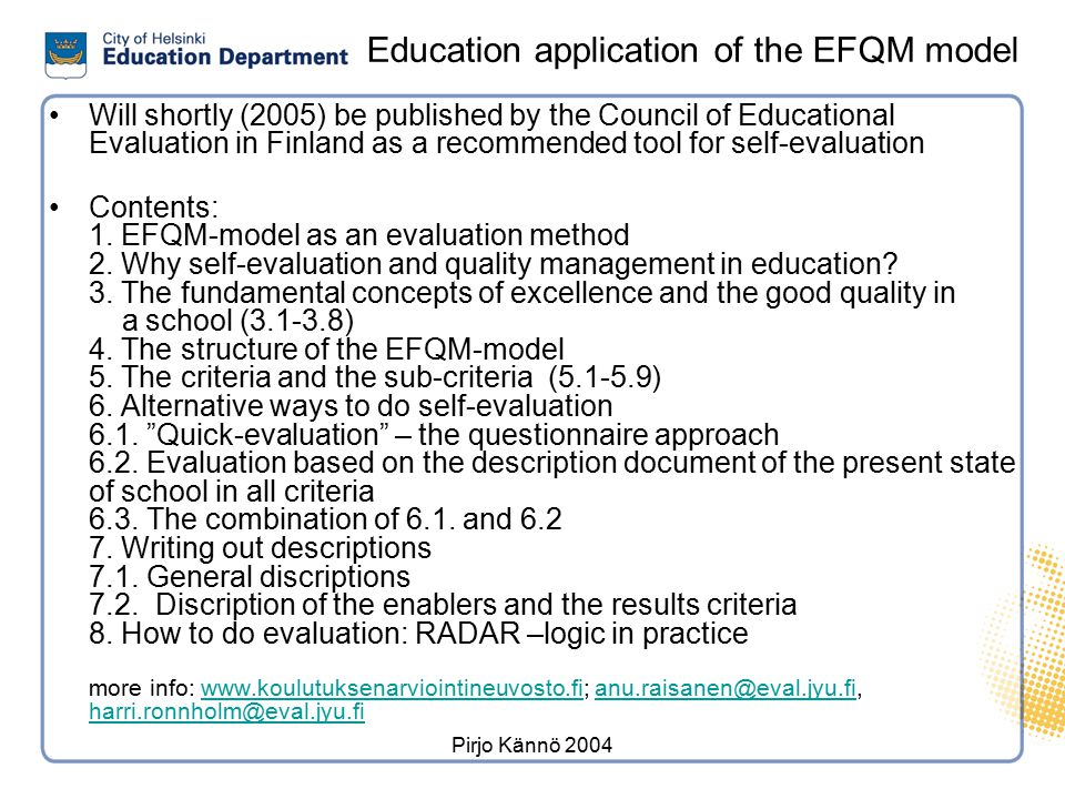 Plan for the evaluation of action and development in schools 3