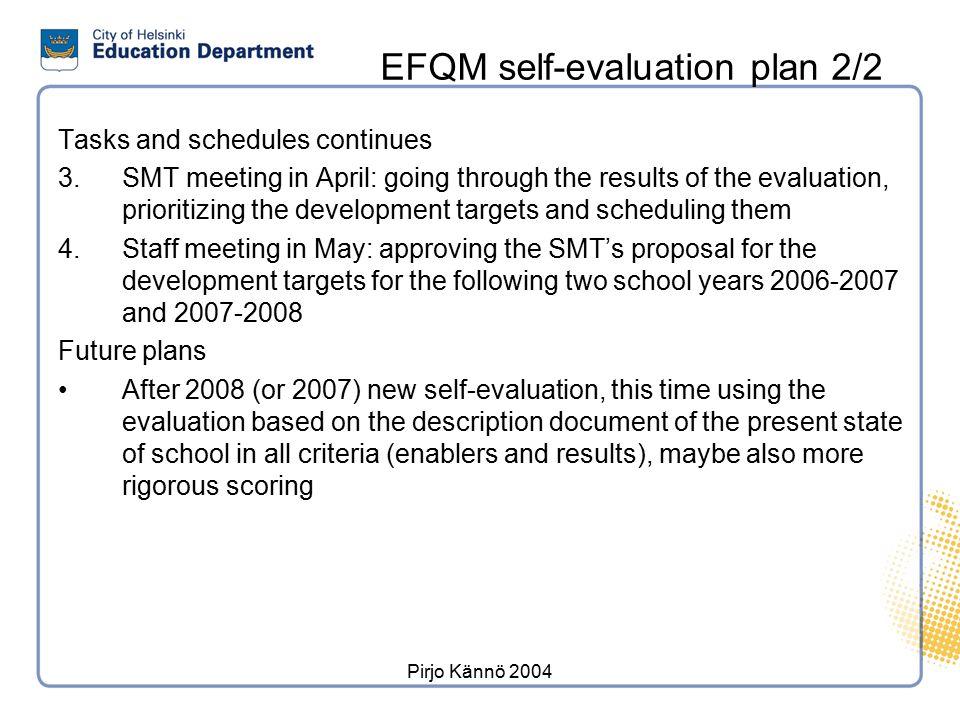 EFQM self-evaluation plan 1/2
