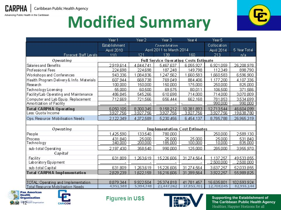 Modified Summary Figures in US$ Slide 12 12