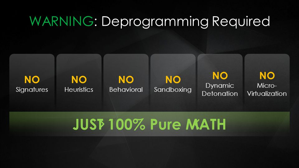 WARNING: Deprogramming Required