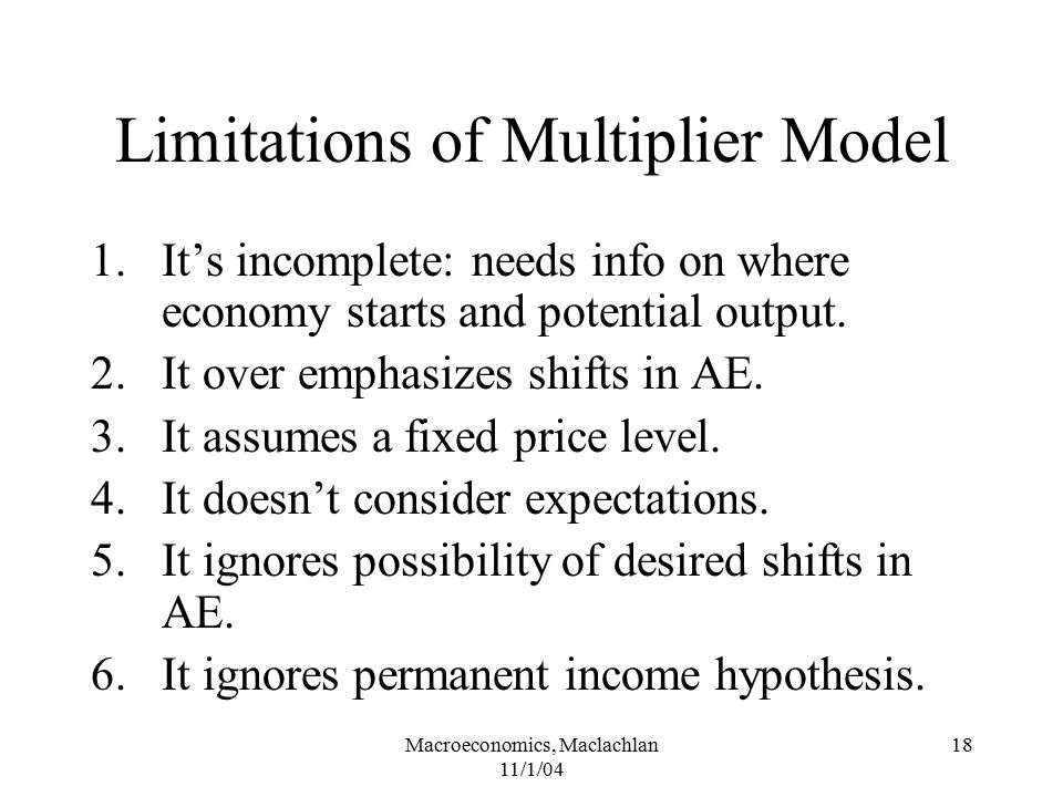 Limitations of Multiplier Model
