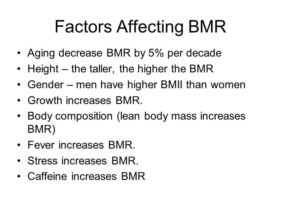 Factors Affecting BMR Aging decrease BMR by 5% per decade