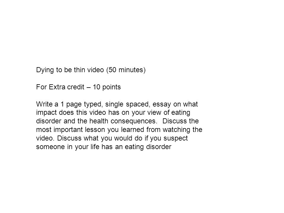 Dying to be thin video (50 minutes)