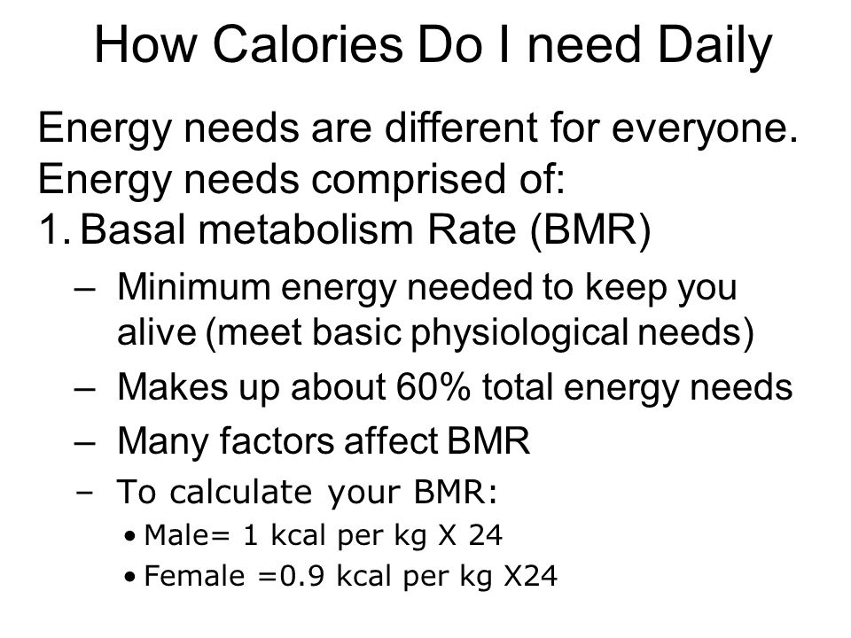 How Calories Do I need Daily