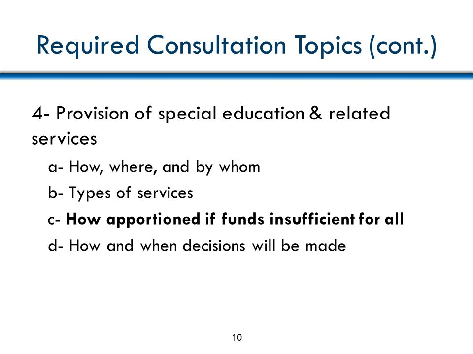 Required Consultation Topics (cont.)