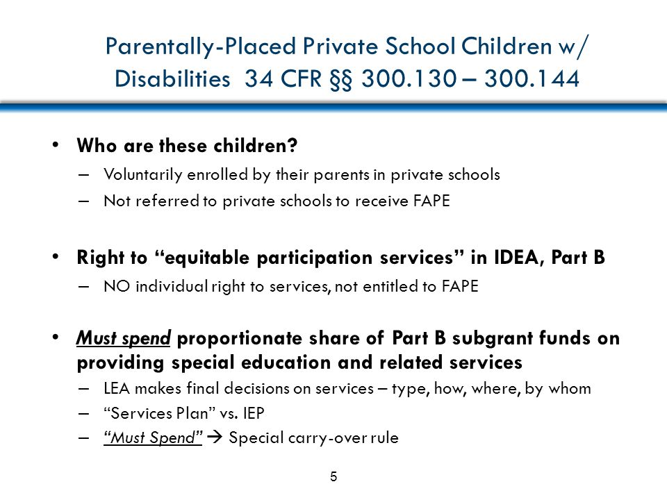 Parentally-Placed Private School Children w/ Disabilities 34 CFR §§ 300.130 – 300.144