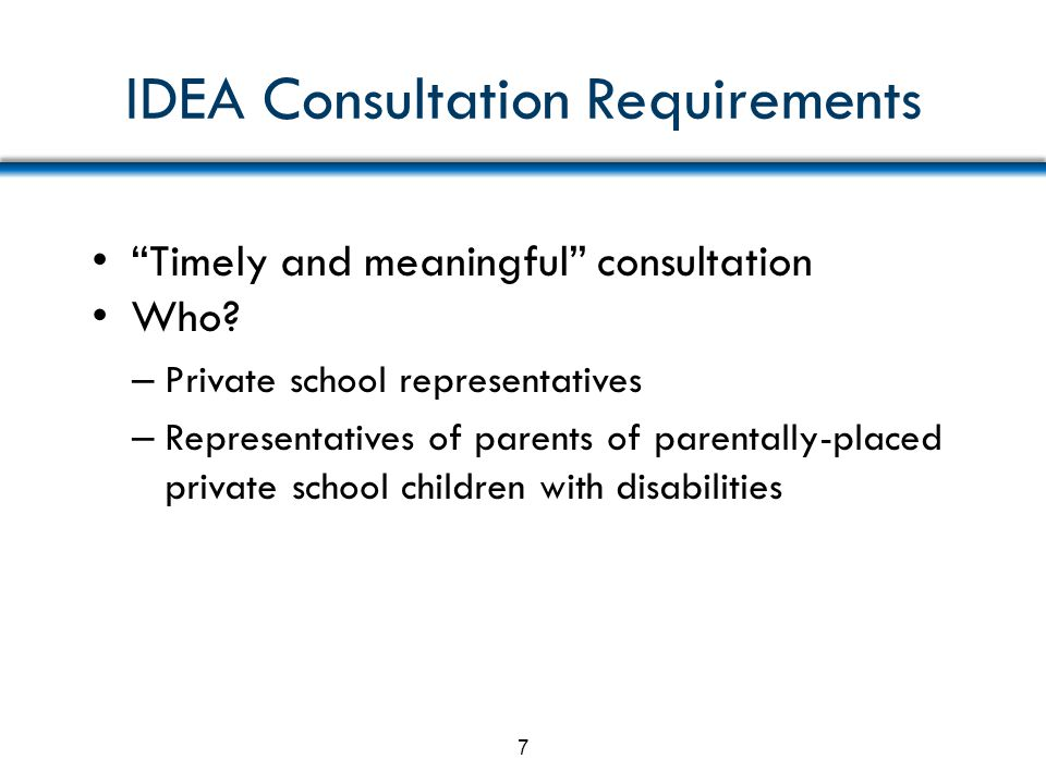 IDEA Consultation Requirements