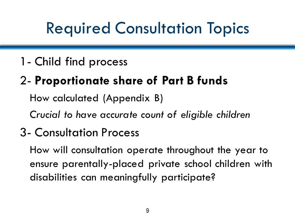 Required Consultation Topics