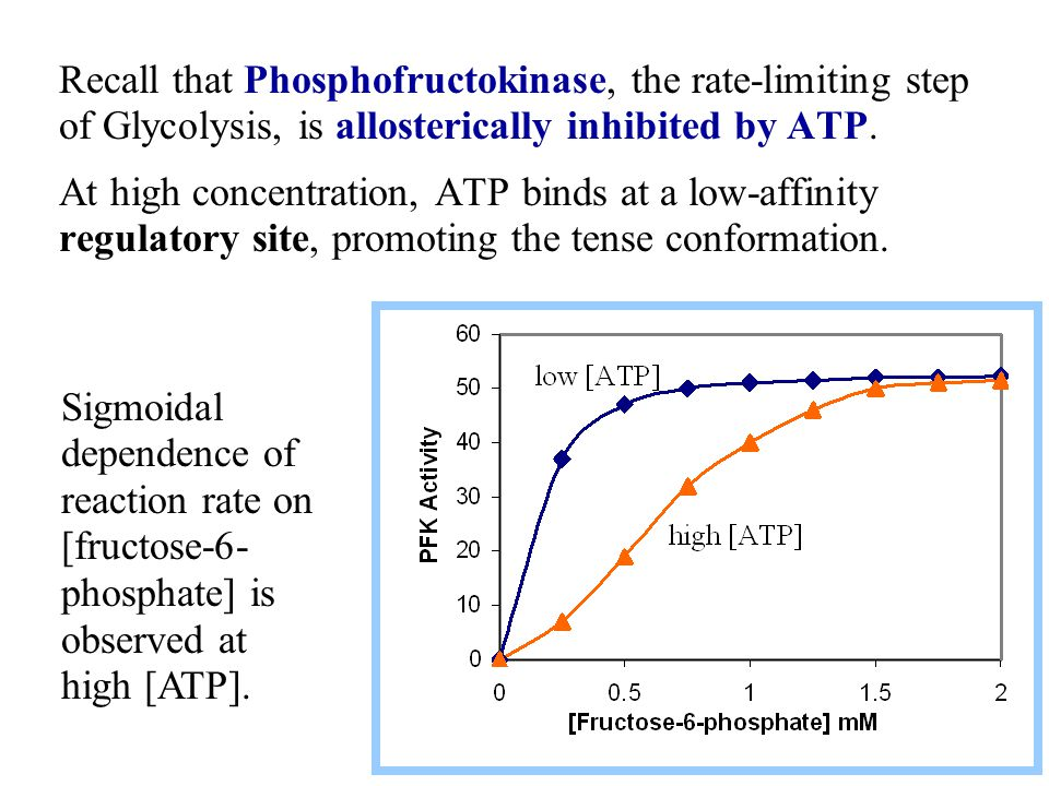 Recall that Phosphofructokinase, the rate-limiting step of Glycolysis, is allosterically inhibited by ATP.