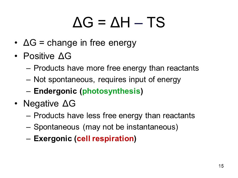 ΔG = ΔH – TS ΔG = change in free energy Positive ΔG Negative ΔG
