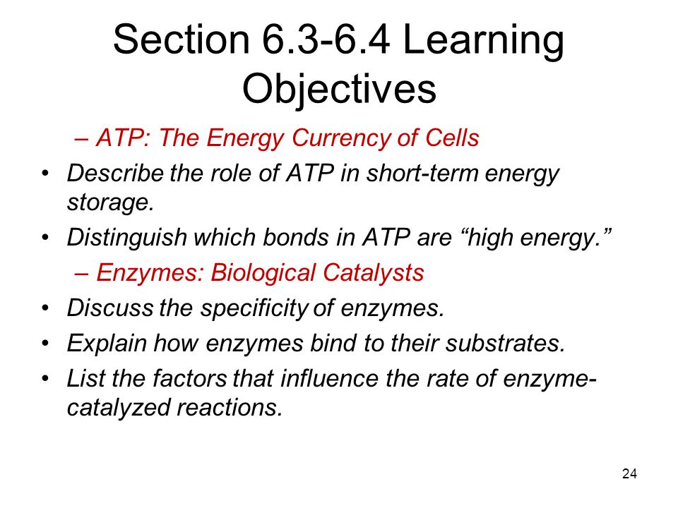 Section 6.3-6.4 Learning Objectives