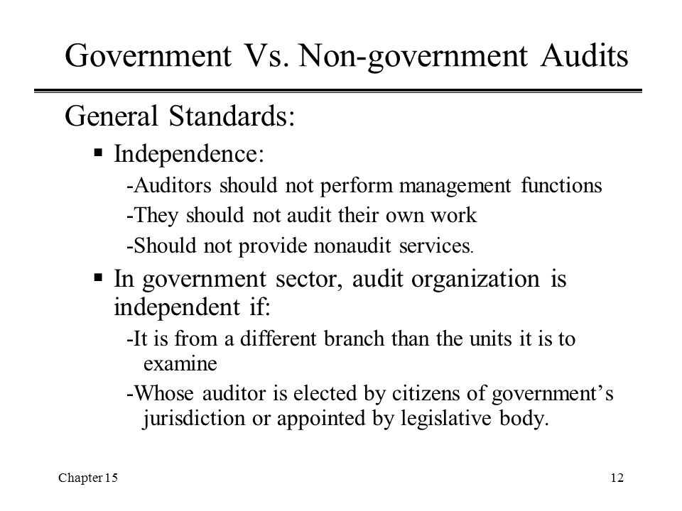 Government Vs. Non-government Audits