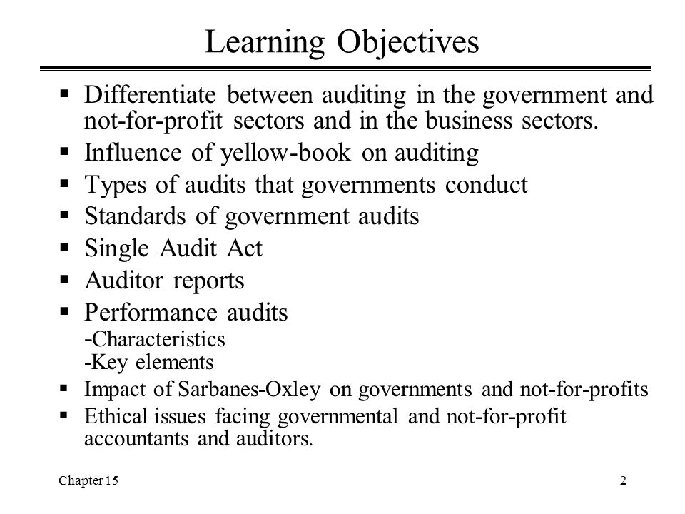 Learning Objectives Differentiate between auditing in the government and not-for-profit sectors and in the business sectors.