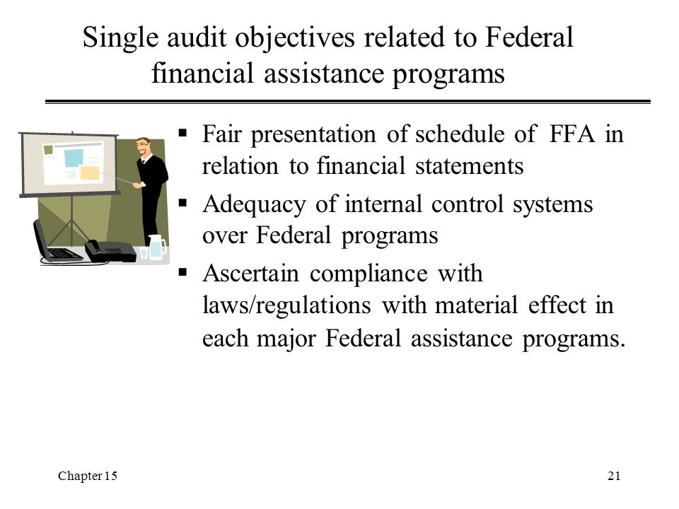 Single audit objectives related to Federal financial assistance programs