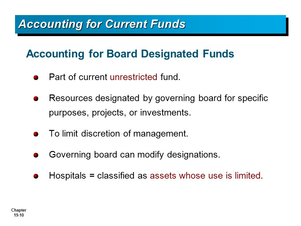 Accounting for Current Funds