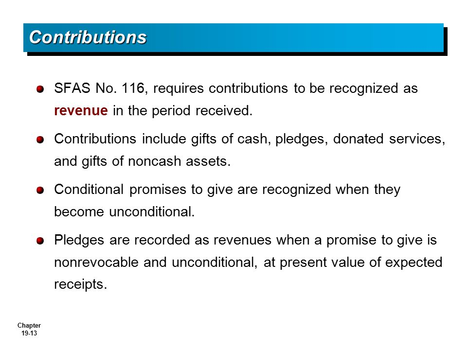 Contributions SFAS No. 116, requires contributions to be recognized as revenue in the period received.