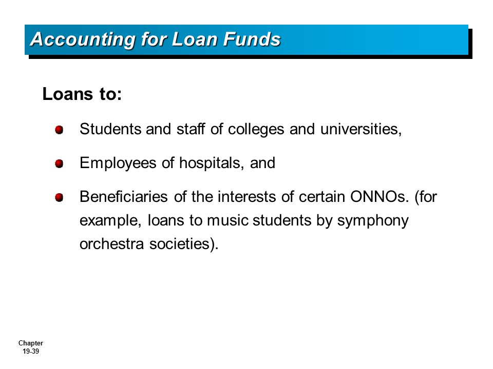 Accounting for Loan Funds