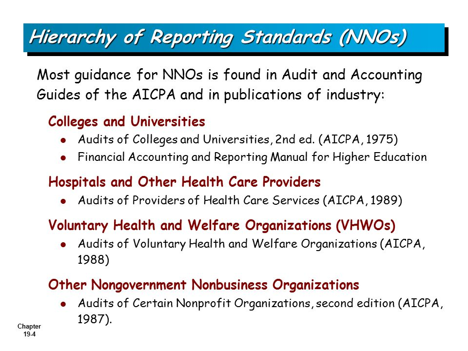 Hierarchy of Reporting Standards (NNOs)