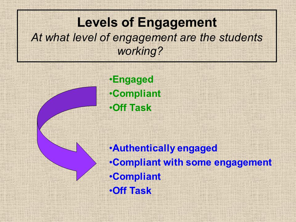 Levels of Engagement At what level of engagement are the students working