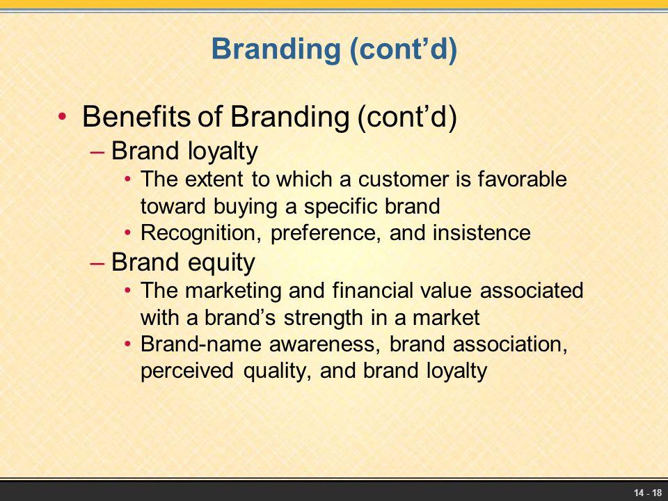 Benefits of Branding (cont'd)