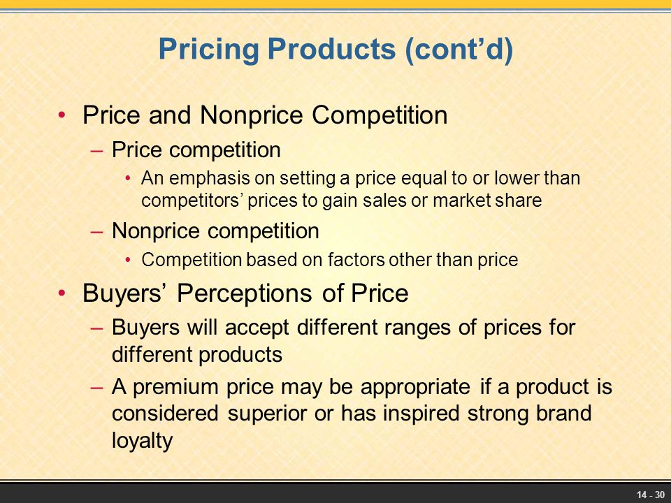 Pricing Products (cont'd)