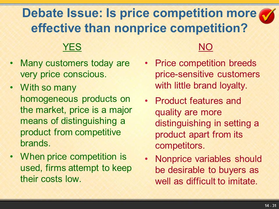 Debate Issue: Is price competition more effective than nonprice competition