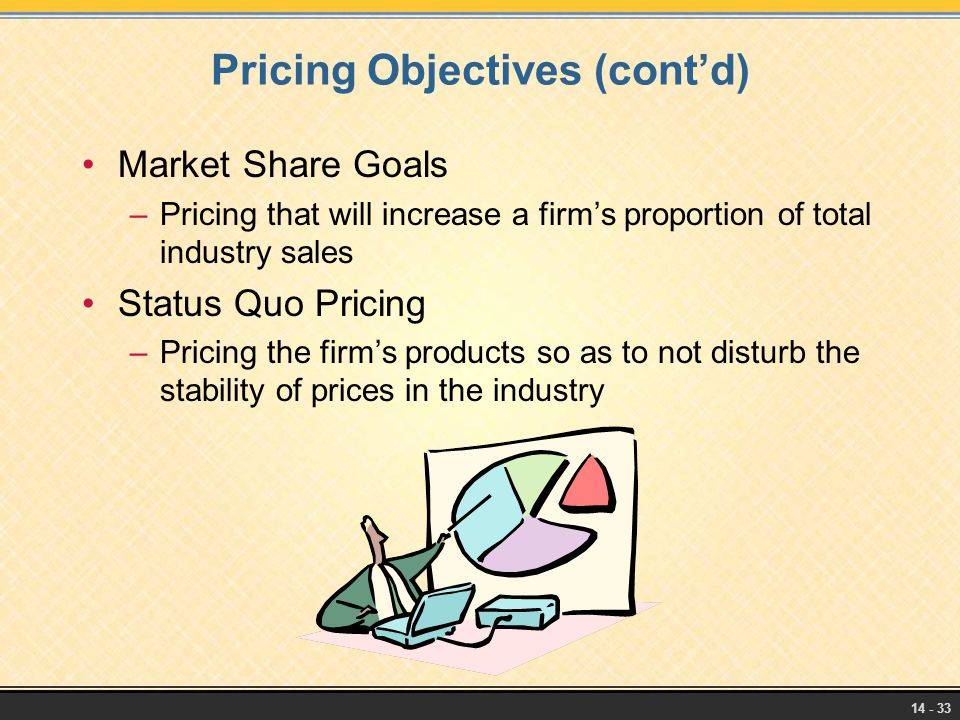 Pricing Objectives (cont'd)