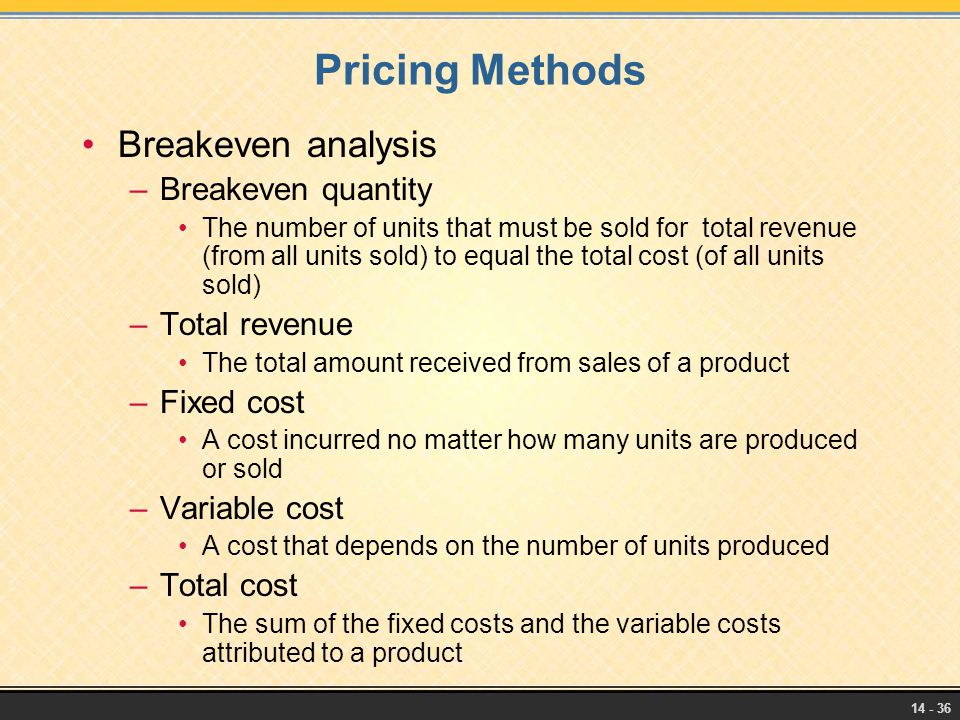 Pricing Methods Breakeven analysis Breakeven quantity Total revenue