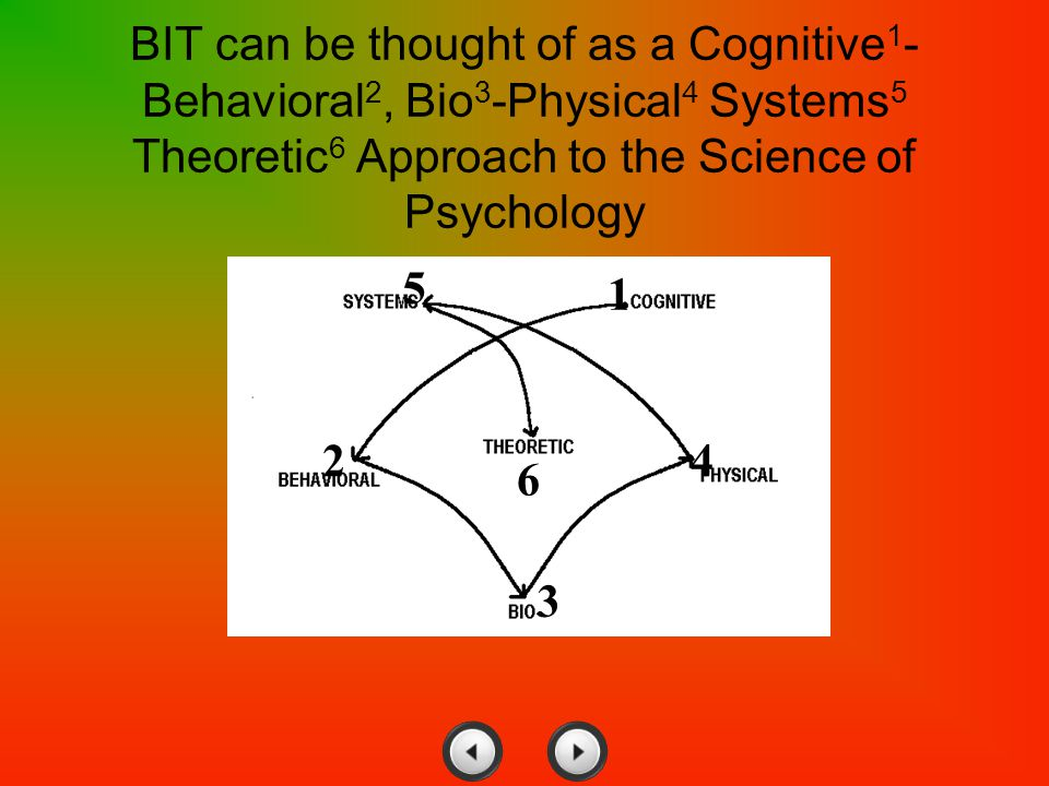 BIT can be thought of as a Cognitive1-Behavioral2, Bio3-Physical4 Systems5 Theoretic6 Approach to the Science of Psychology