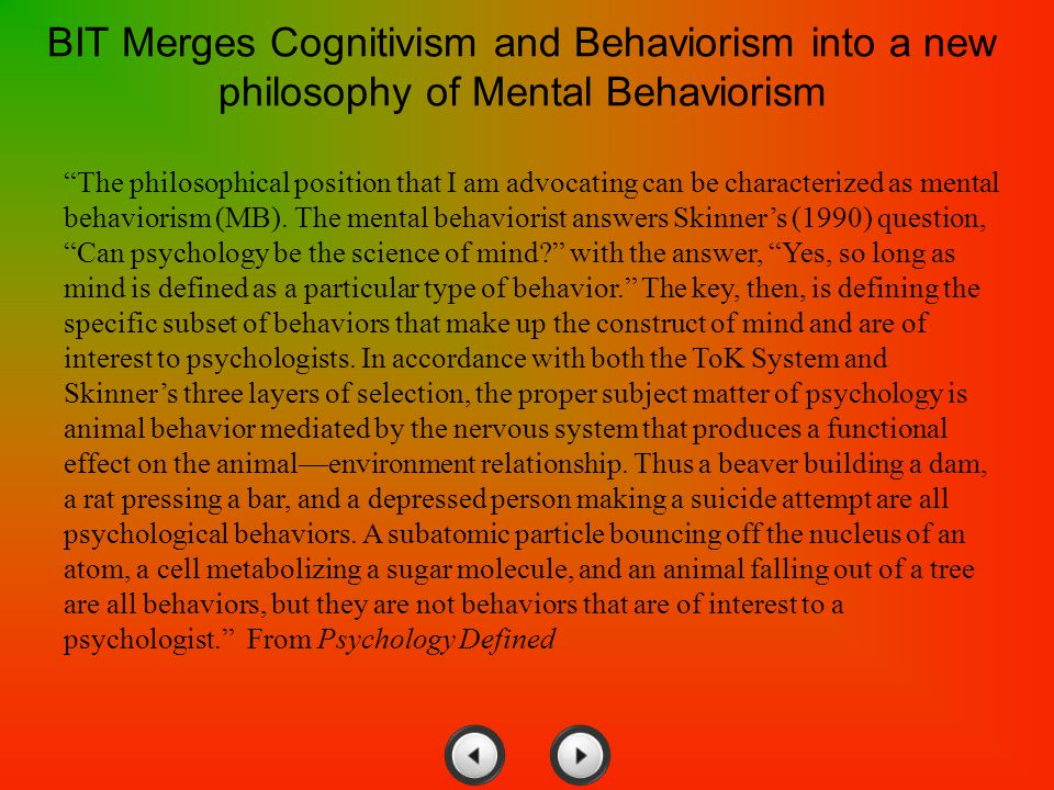 BIT Merges Cognitivism and Behaviorism into a new philosophy of Mental Behaviorism