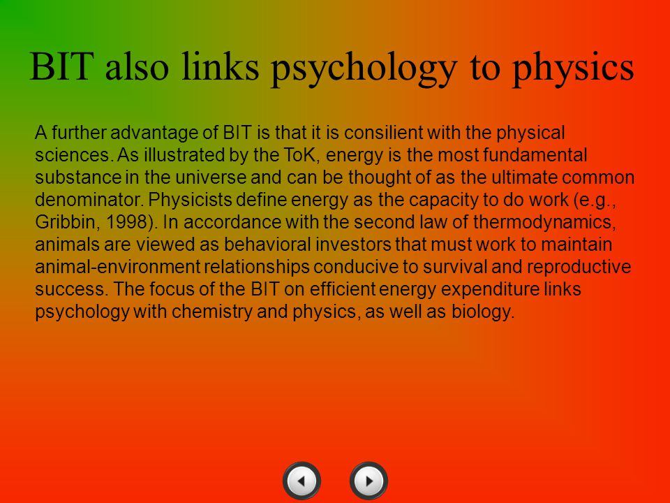 BIT also links psychology to physics
