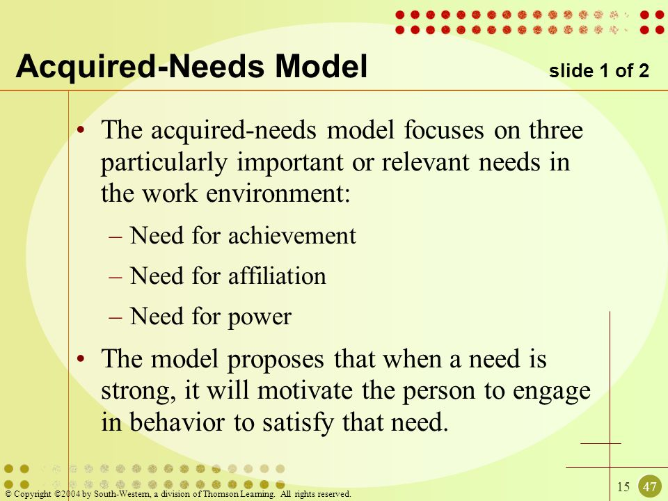 Acquired-Needs Model slide 1 of 2