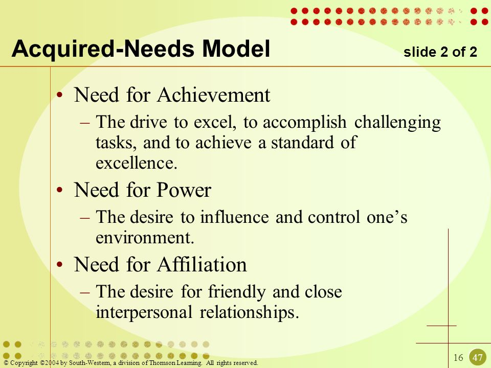 Acquired-Needs Model slide 2 of 2
