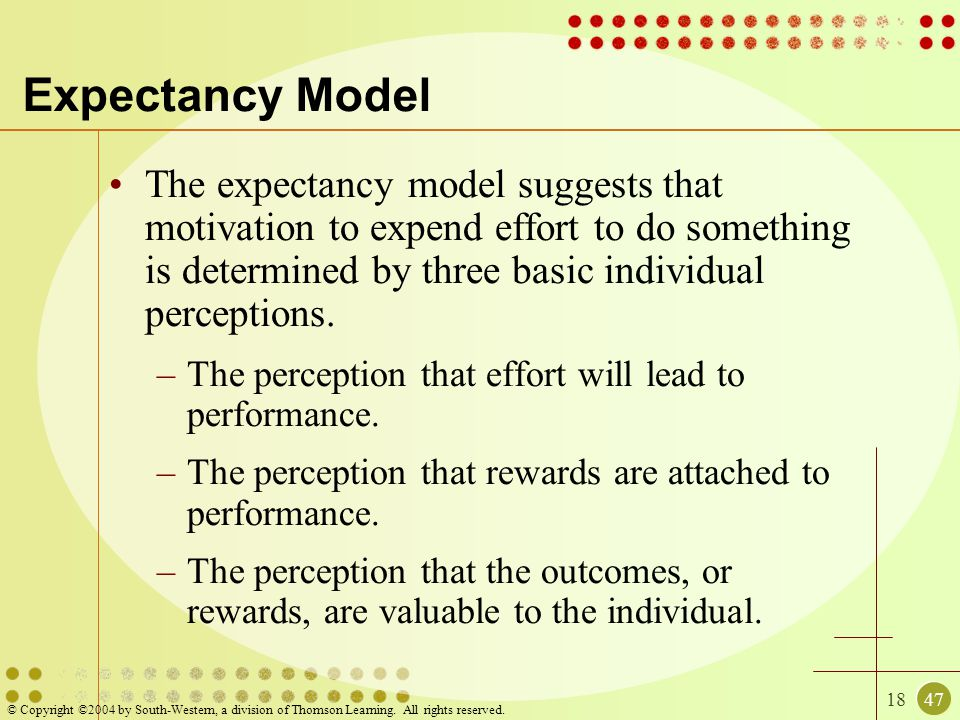 Expectancy Model The expectancy model suggests that motivation to expend effort to do something is determined by three basic individual perceptions.