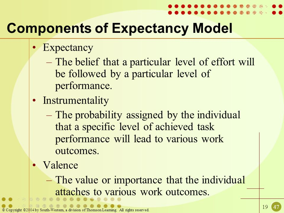 Components of Expectancy Model