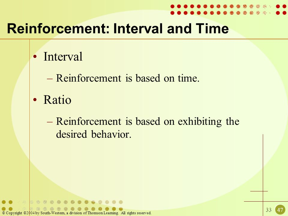 Reinforcement: Interval and Time