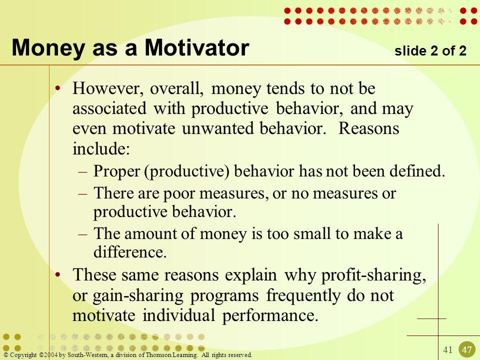 Money as a Motivator slide 2 of 2