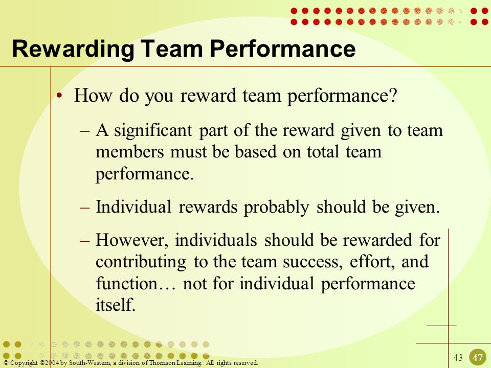 Rewarding Team Performance