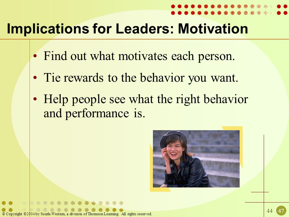 Implications for Leaders: Motivation
