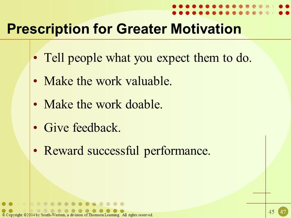 Prescription for Greater Motivation
