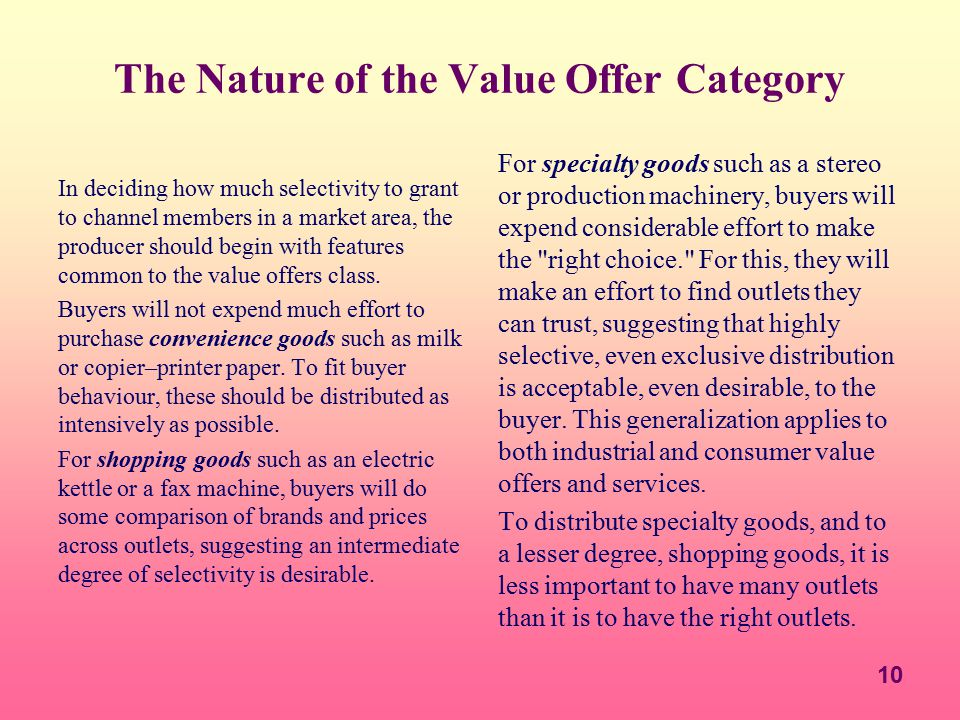 The Nature of the Value Offer Category