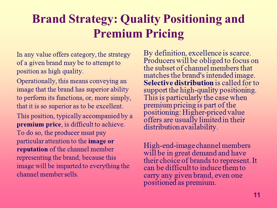 Brand Strategy: Quality Positioning and Premium Pricing