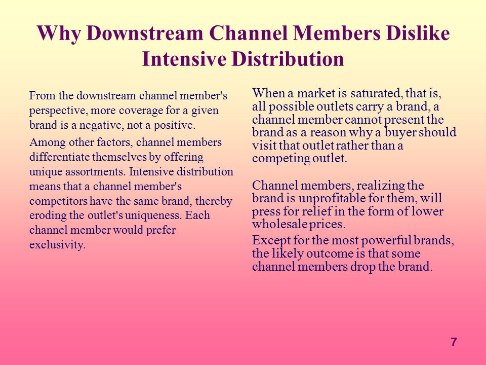 Why Downstream Channel Members Dislike Intensive Distribution