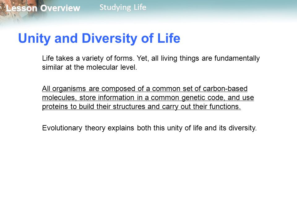 Unity and Diversity of Life