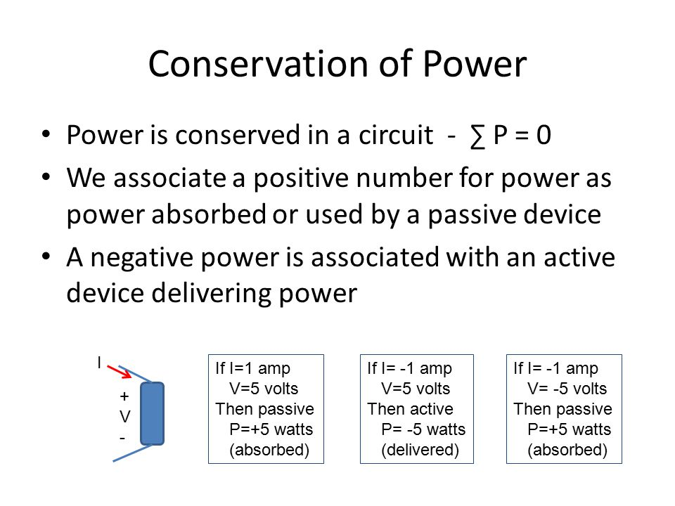 Conservation of Power Power is conserved in a circuit - ∑ P = 0