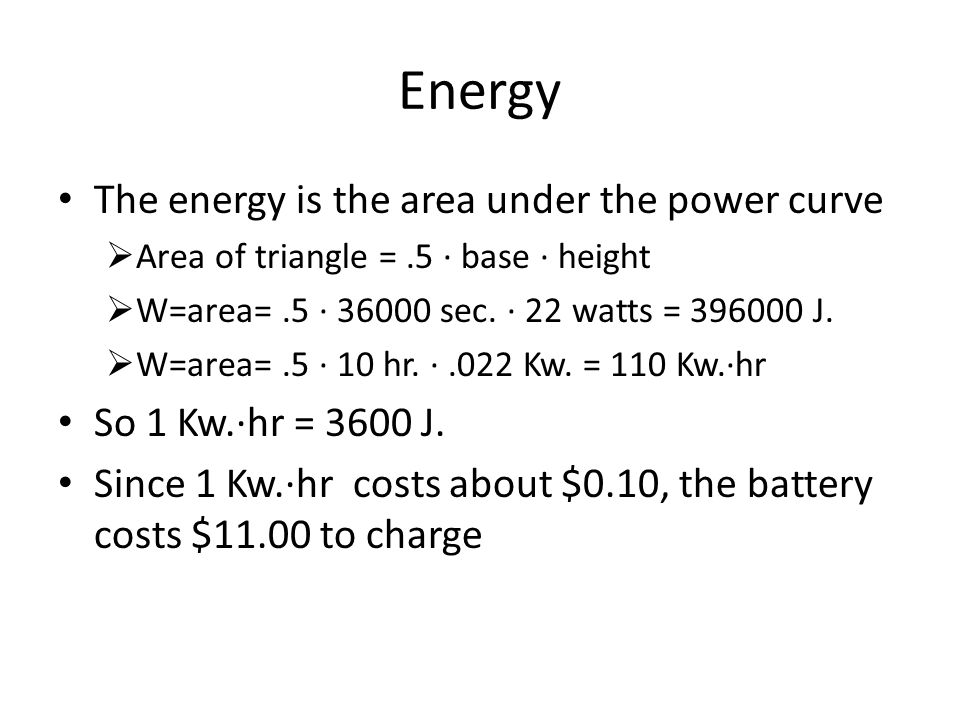 Energy The energy is the area under the power curve