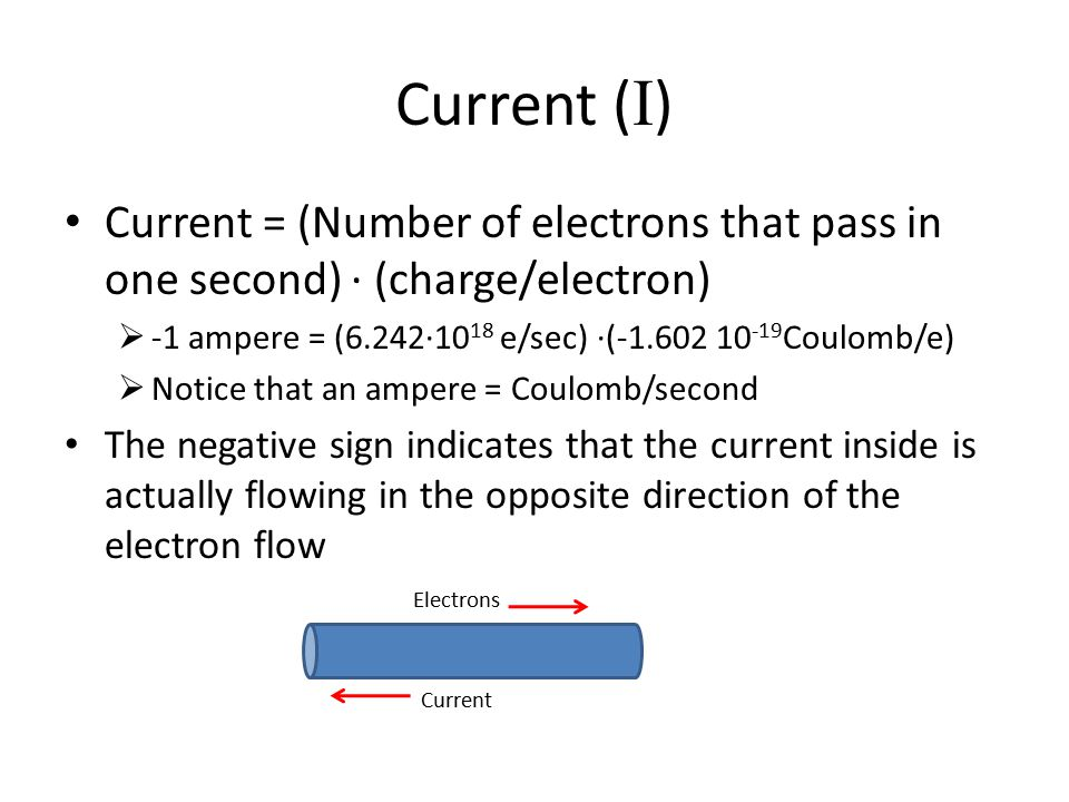 Current (I) Current = (Number of electrons that pass in one second) ∙ (charge/electron) -1 ampere = (6.242∙1018 e/sec) ∙(-1.602 10-19Coulomb/e)