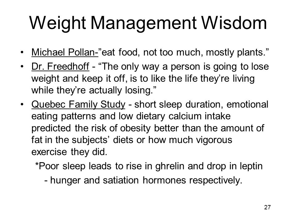 Weight Management Wisdom