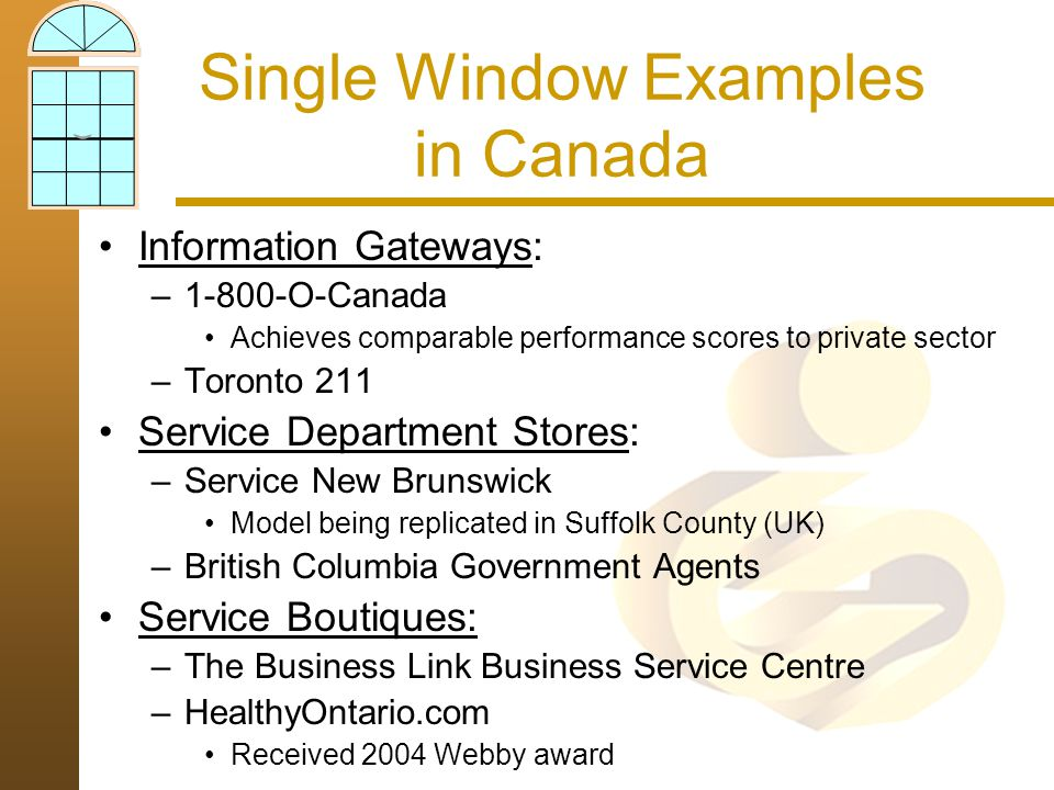 Single Window Examples in Canada