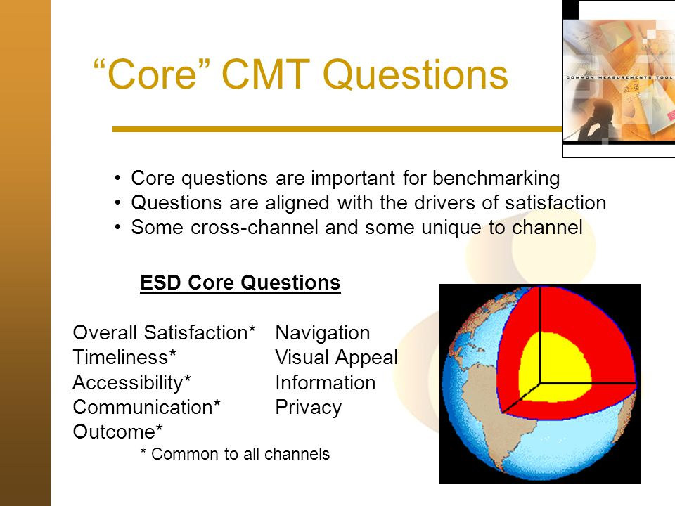 Core CMT Questions ESD Core Questions